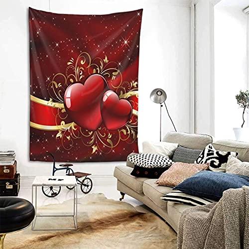 NA Hermoso día de la Madre Día de San Valentín con Tapiz de Corazones Rojos para Colgar en la Pared, tapices de Pared Verticales Tapiz Recto para Dormitorio, Sala de Estar, Dormitorio, decoración