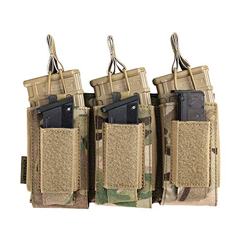 EXCELLENT ELITE SPANKER Open-Top Single/Double/Triple Mag Pouch for M4 M14 M16 AK AR Elastic Kangaroo Rifle Magazines and Pistol Mag Pouch(Multicam)