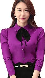 BININBOX Blusas y Camisas de Mujer Blusa Elegante de Oficina Slim Fit en 4 Colores