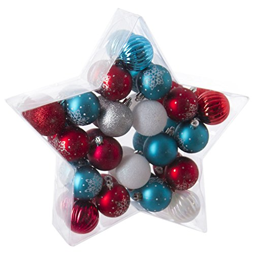 Féérie Lights & Christmas Kit déco pour Sapin de Noël - 40 Pièces - Rouge, Bleu et Gris