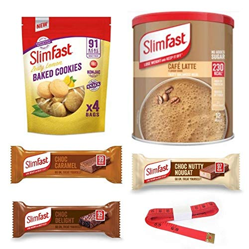 Enriched Slim Fast Shake And Snacks Weightloss Diet Bundle With Tape Measure - Zesty Lemon Baked Cookies, Café Latte Powder Meal Shake And Three Chocolate Snack Bars In Caramel, Nougat, Delight