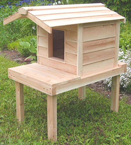 Outdoor Cat House with Lounging Deck and Extended Roof,...
