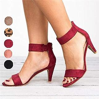 6 Colors Fashion Women's High Heel Sandals Open Toe Shoes Ankle Strap Stiletto Heel Sandals Plus Size 34-43(Pink,EU42)