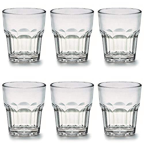 Viva Haushaltswaren - 6 x bruchfestes Whiskyglas 240 ml, Trinkgläser Set aus hochwertigem Polycarbonat (Kunststoff) als Wasserglas, Saftglas, Partybecher etc. verwendbar (wie echtes Glas)