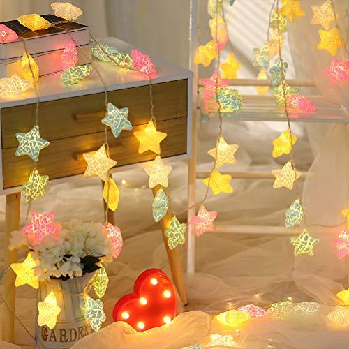 Cadena de luces LED con forma de estrella, 20 ledes, para interior...