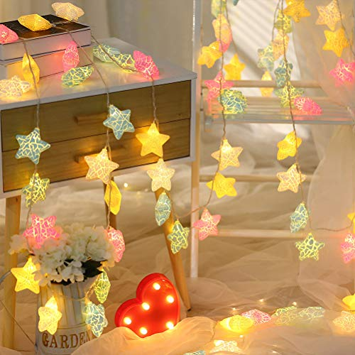 Cadena de luces LED con forma de estrella, 20 ledes, para interior y exterior, decoración de habitaciones, guirnalda de pilas, Navidad, cumpleaños, jardín, fiesta, habitación infantil, 3 m color