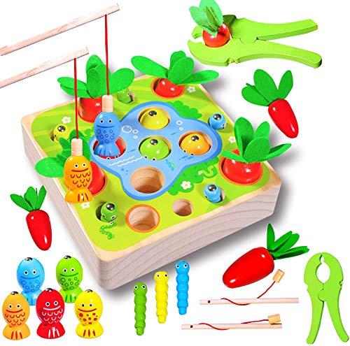 Felly Juguetes Montessori 1 Año, Juguetes de Madera Rompecabezas Zanahorias Clasificación Juego de Pesca Juguetes Educativos Niños, Temprano Regalo de Cumpleaños Navidad para Bebés de 1-3 años