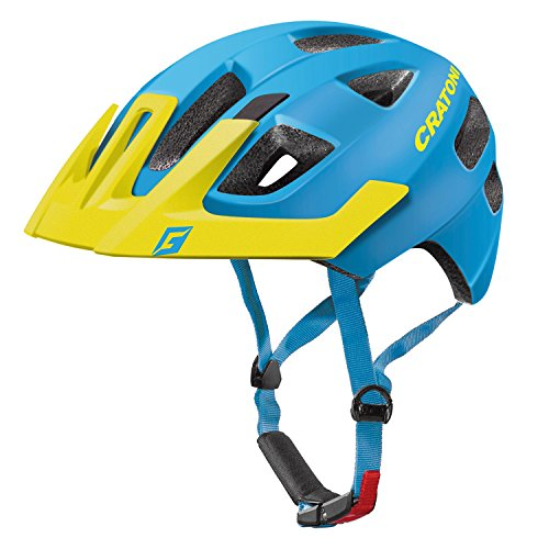 Cratoni Kinder Maxster Pro Fahrradhelm, Blue/Yellow Matt, S-M