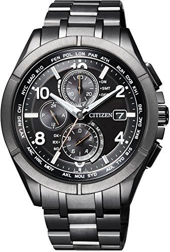 [シチズン] 腕時計 アテッサ Eco-Drive エコ・ドライブ電波時計 ブラックチタンシリーズ ダイレクトフライト AT8166-59E メンズ