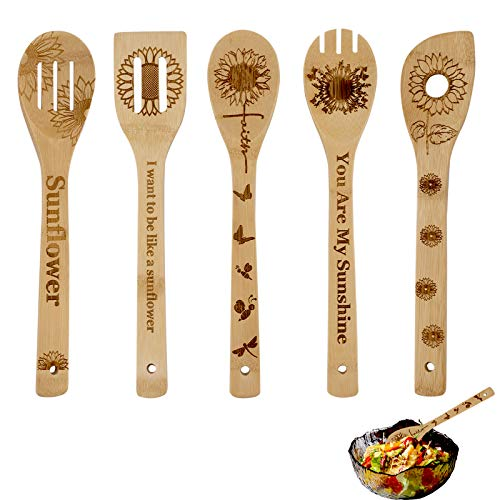 Sunflower Wooden Cooking Spoons Set of 5,Sunflower Kitchen Gift, Sunflower Spoon Set,Bamboo Cooking Utensil Spoons Housewarming Wedding Birthday Mom Cooking Anniversary Gift Idea Kitchen Decor