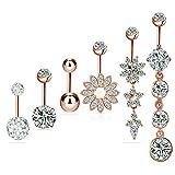 6 PCS 14G 316L en acier chirurgical CZ nombril anneaux avec Dangle Cubique Zircone Courbe Corps Piercing Bijoux Barbells pour Femmes Filles (Or rose)