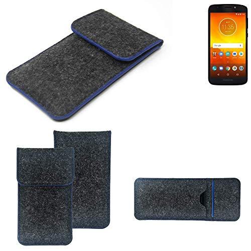 K-S-Trade Handy Schutz Hülle Für Motorola Moto E5 Dual SIM Schutzhülle Handyhülle Filztasche Pouch Tasche Hülle Sleeve Filzhülle Dunkelgrau, Blauer Rand