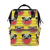 Mochila para pañales de perro con diseño de perro con sandía para mamá, bolsa de pañales de gran capacidad, mochila de viaje, escuela, portátil, bolsa de senderismo