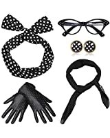 Coucoland 50s Accessories Bandana Tie Headband Chiffon Scarf Cat Eye Glasses 50s Earrings and Gloves 1950s Costume Accessories (Black)(Size: One size)