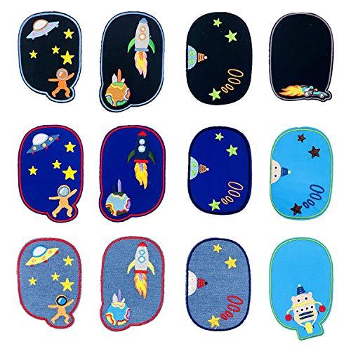 Woohome Patch Sticker, 12 Pz Rodilla Parche Termoadhesivo Algodón de Vaqueros para Planchar con Diseño de Astronauta Espacial, Coser en Chaquetas, Ropa, Bolso, Zapatos