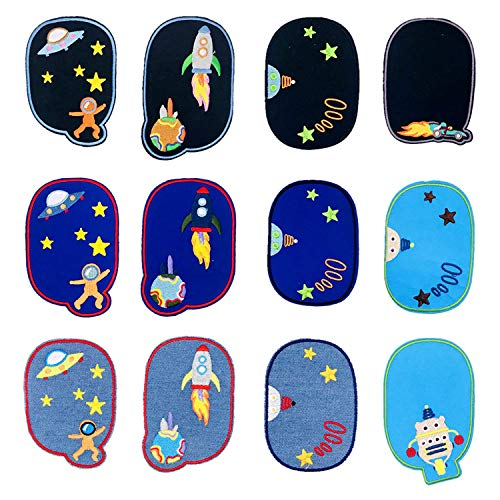 Woohome Flicken Patches, 12 Stück Knie Raum Astronaut Aufbügeln Patches Jacke Jean Kleidung Denim Patches Aufbügeln Repair Patches Kit
