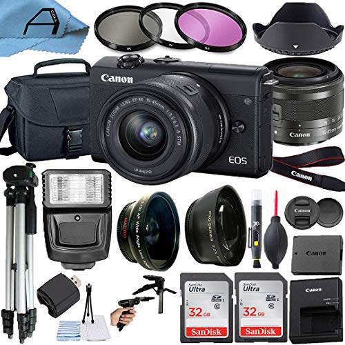 Canon EOS M200 Mirrorless Digital Vlogging Camera with EF-M 15-45mm is STM Zoom Lens, 2 Pack SanDisk 32GB Memory Card,...