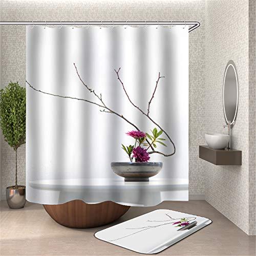 ZZZdz bloempot. bloemen. Douchegordijn. Waterdicht. Eenvoudig te reinigen. 180 x 180 cm. Tapijt. Plus fluweel. 40 x 60 cm. Badkameraccessoires.