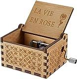 Carillon a Manovella in Legno Intagliato Vintage Scatola Musicale Music Box Regalo per Compleanno, Valentine's Day, Natale (La Vie en Rose)