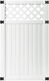 Outdoor Essentials PicketLock Olympia Fence Gate, White Vinyl, Lattice Top3-1/2 ft. x 6 ft.