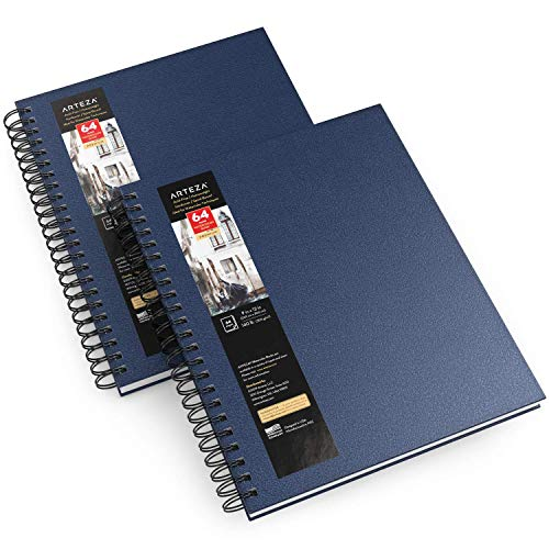 Arteza Watercolor Sketchbooks, 9x12-inch, 2-Pack, Blue Hardcover Journal, 64 Sheets, 140lb/300gsm Watercolor Paper Pad, Spiral Bound Book for Watercolors, Gouache, Acrylics, Pencils, Wet & Dry Media