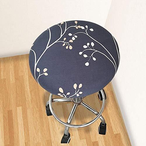 XCVB Ronde stoel stoelhoes Thuis stoel Hoes ronde stoel barkruk Bloemen bedrukte hoes barkrukhoes Elastisch, lichtgrijs