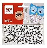 APLI - Bolsa ojos móviles negros ADH.RED.6MM 200 uds