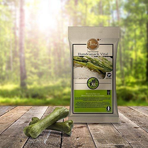 Tiera Vital Basmati Snack L mit Meeresalgen und Glucosamine | Gesunde Hunde Leckerlie aus Reis | fleischlose Zahnpflege Kausnacks 2 x 100 g