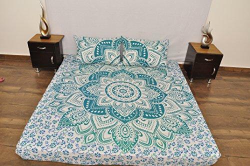 Indische turquoise witte Urban bloemen Outfitters wandtapijt opknoping Mandala sprei Gypsy Cover Boho Queen Dubbel Doona & 2 kussensloop Set 100% katoen 92