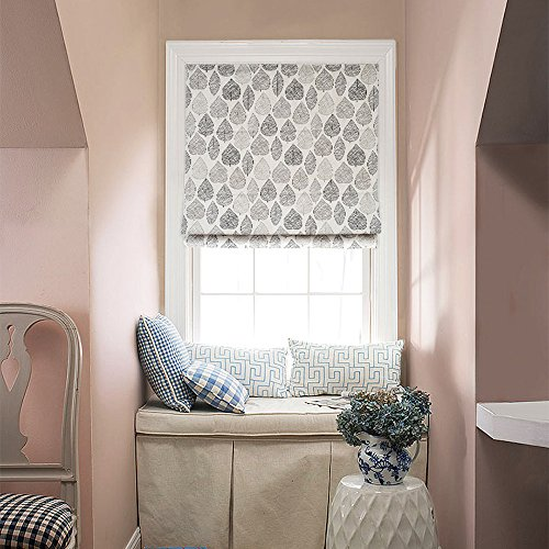 "KARUILU home Quick Fix Washable Roman Window Shades Flat Fold, Custom any width from 14"" to 70"", Forest (30W x 63H, Leaves)"