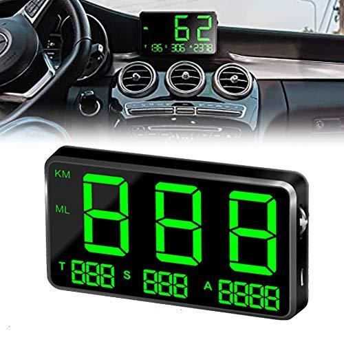 ヘッドアップディスプレイ HUD USB式 GPS連動 車載スピードメーター 時速表示 里程計算 海抜高度 過速度警告 輝度調節可 タイムゾーンの自動調整 10.5*6*1.6cm