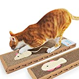 Youyababay Cat Scratcher Karton 2er-Set, Maus und Fisch Form, Katze Kratzbrett Recycle runzeln Scratcher Cat Scratch Lounge