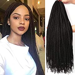 1.Box braid made with high quality synthetic fiber. 100% Hand Braided, Heat-resistance,Crochet Braid Medium Box Braids , crochet hair for black women 2.Itch-free Natural texture ,comfortable to wear . crochet hair for black women 3.The crochet box br...