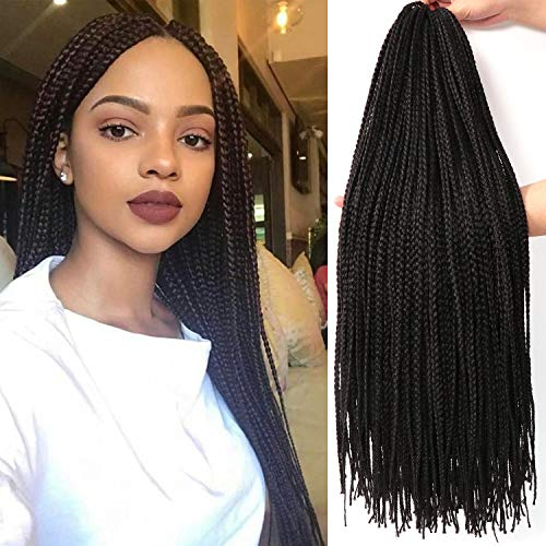 26 Inch 7 Packs Long Box Braids Crochet Braids Synthetic Crochet Hair Box Braid Hair Extension (26 Inch, 1B)