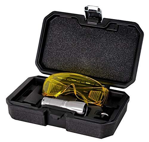 AiCooler LED True Ultraviolet Leak Detection Flashlight with Yellow Protective Goggles. UV Dye Leak Detector, Taiwan Made (UV wavelength 395 nm)
