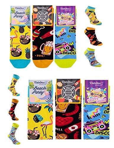 Rainbow Socks - Hombre Mujer Divertidos Sneaker y Altos Calcetines Party - 6 Pares - Flamingo Grill Disco - Talla 41-46