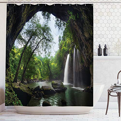 AMBZEK Nature Scene Waterfall Shower Curtain Mountain Cave Scenic Forest Tree Landscape Jungle Rainforest Jungle Lake Artwork Cloth Fabric Bathroom Decor Set with 12 Pack Hooks 60x71 Inch, Green