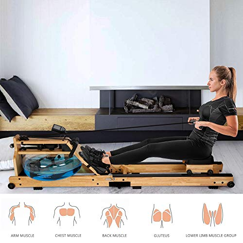 Koreyosh Foldable Water Rowing Machine Indoor Water Rower Adjustable Resistance with LCD Monitor Home Gym Equipment for Whole Body Exercise Cardio Training (Wood-Foldable)