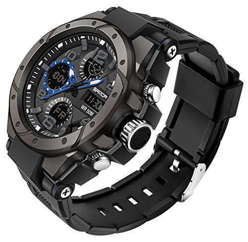Men's Military Watch Tactical Sports Watches Outdoor Waterproof Digital Wrist Watch LED Stopwatch Analog Watches Black Gold