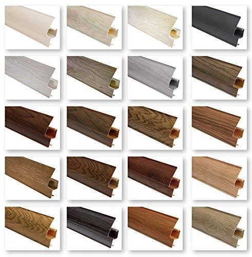 Sockelleisten und Zubehör - riesige Auswahl, integrierter Kabelkanal Kunststoff Fußleisten PVC Moderne Laminatleiste - 60x26 mm Endkappe links EKL.0107