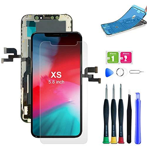 EXW - Schermo per iPhone XS da 5,8 pollici, con Funzionalità Touch e Digitizer Assembly, con Set di Riparazione completo e Protezione Schermo, Colore: Nero