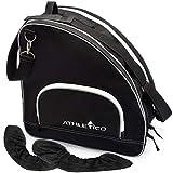 Athletico Ice Skate Bag + Large Skate Blade Cover - Bundle Includes Skate Bag for Ice Skates, Figure Skates, or Hockey Skates and Blade Cover to Protect Blades (Black) (Black, Large)