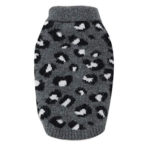 Petyoung Hundepullover Weste Leopardenmuster Haustier Weich Stricken Wolle Pullover Gestrickt Häkeln Winter Warme Mantel Kleidung für Kleine Mittlere Hunde