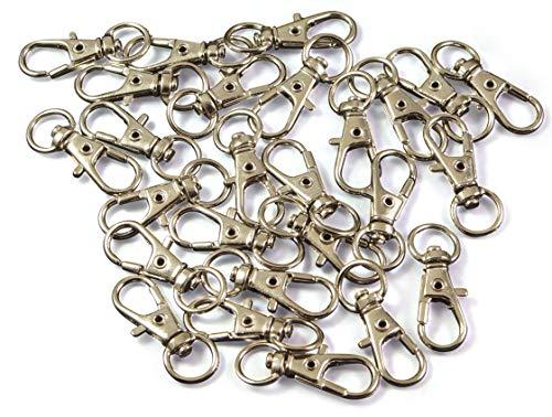 Lot de 30 petits mousquetons avec articulation rotative 32 mm x 12 mm Pendentif porte-clés mousqueton avec tête rotative Argenté