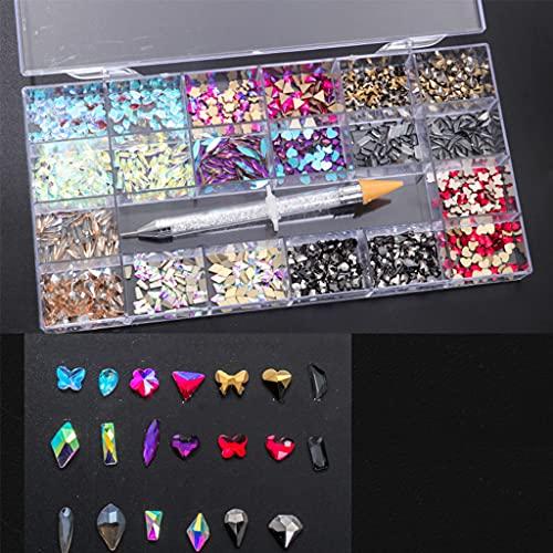 AniYY Kit de decoración de uñas con diamantes de imitación de múltiples formas