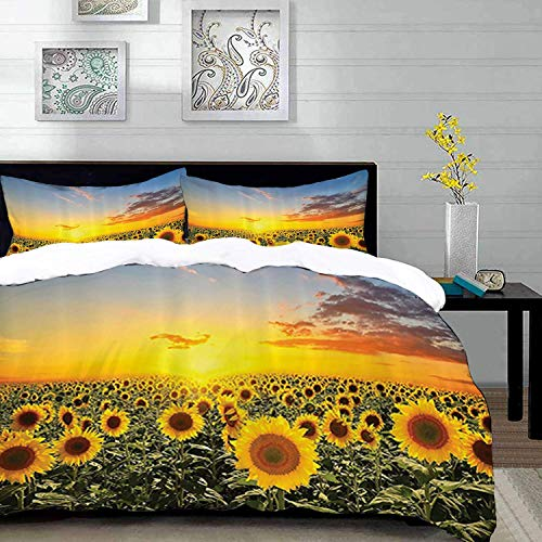 Qoqon bedding - Duvet Cover Set, Country Farm Garden ations by,Sunset Over Colorful Sunflower Plants Field at Cloudy Evening,Bro,Microfibre Duvet Cover Set with 2 Pillowcase 50 X 75cm