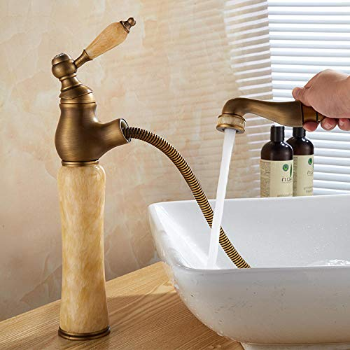 QIMEIM Grifo mezclador de lavabo de baño de latón tipo tirador de latón caliente y frío antiguo retráctil para grifo de baño de cocina