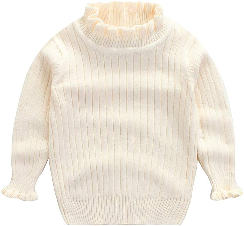 WeddingPach Baby Girl Sweaters Infant Warm Combed Cotton Sweatshirt Cable Knit Ruffles Turtleneck Pullover 2-6T