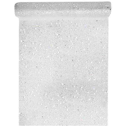 Tischläufer Tüll Glitter 30cm x 5m Silber Tüllstoff Tischdecke Hochzeit Dekostoff Deko, Silber