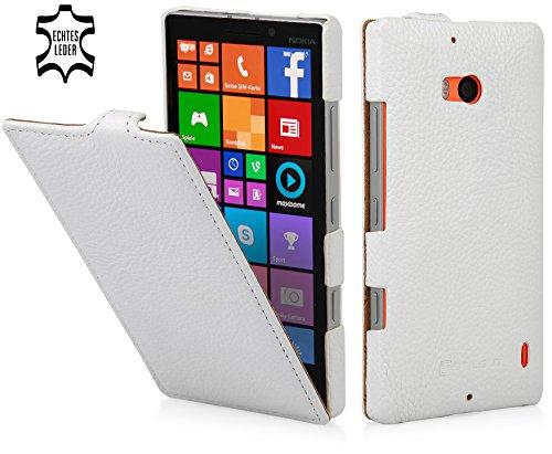 StilGut UltraSlim Hülle, Tasche aus Leder kompatibel mit Nokia Lumia 930, weiß